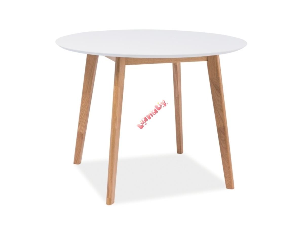 Kerek étkezőasztal MOSSI I - fehér/tölgy - banaby.hu