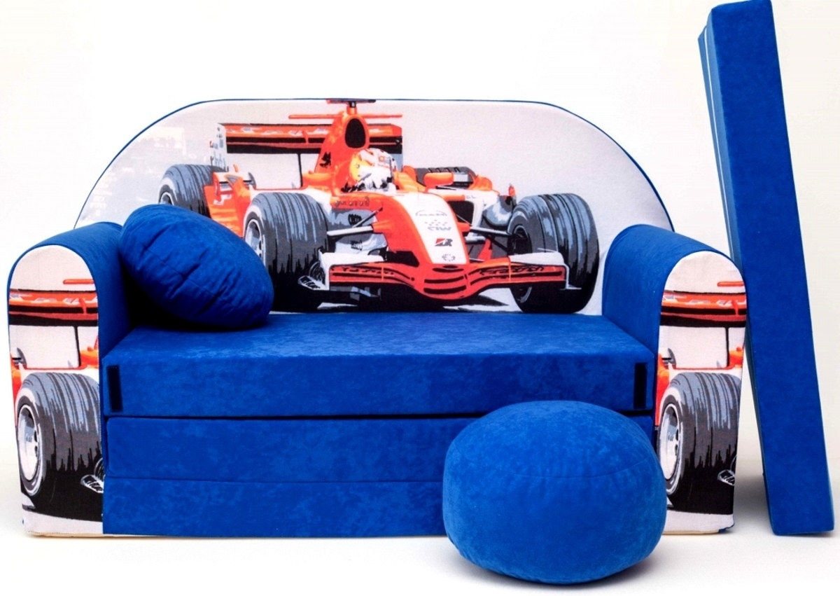 Gyerek kanapé versenyautó - kék