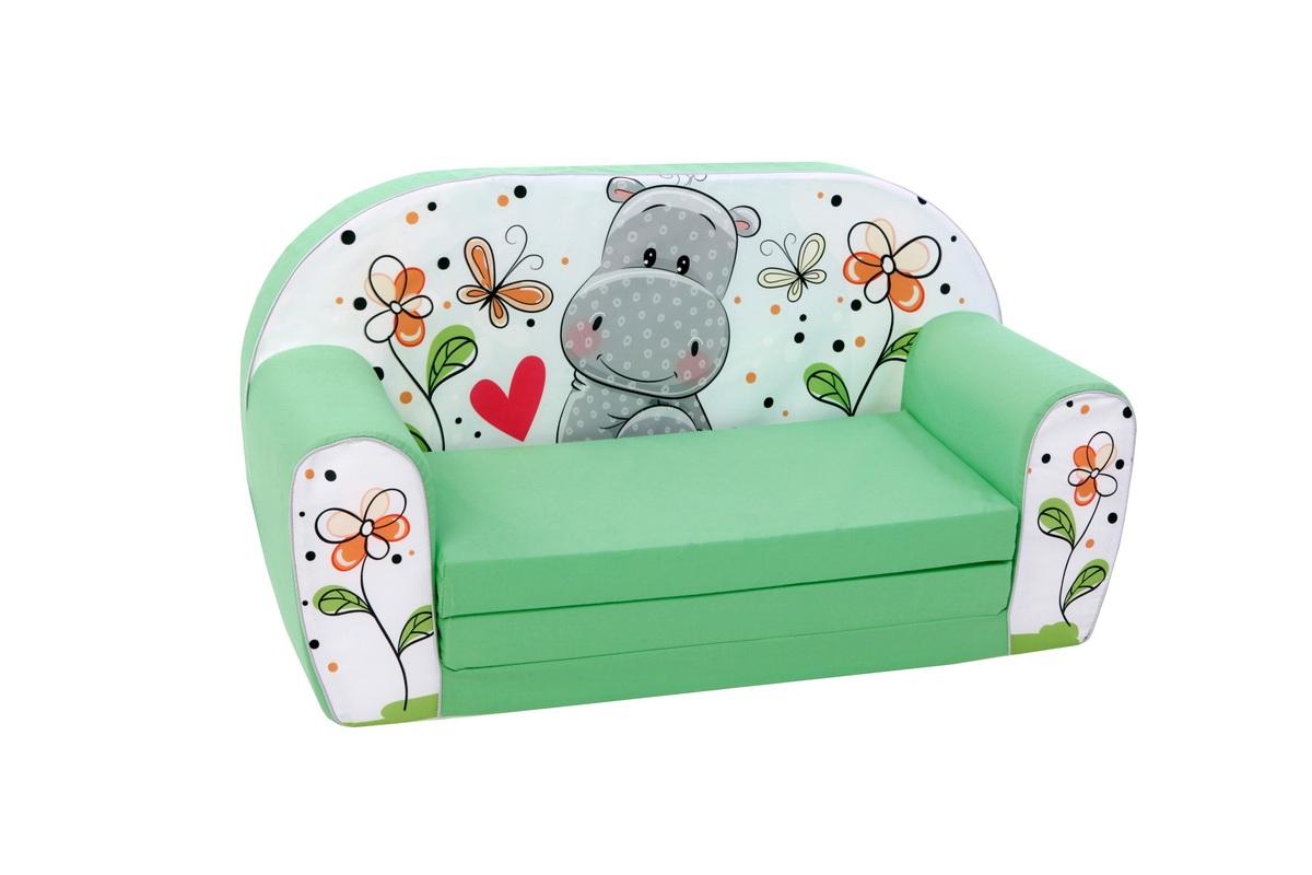 Gyerek kanapé - viziló - zöld