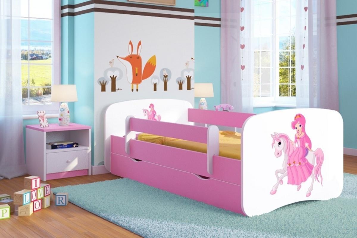 OURBABY gyerekágy leesésgátlóval - rózsaszín - hercegnő lovon