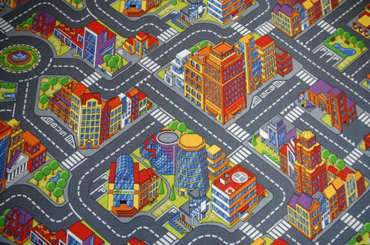 Gyerek szőnyeg BIG CITY - szürke