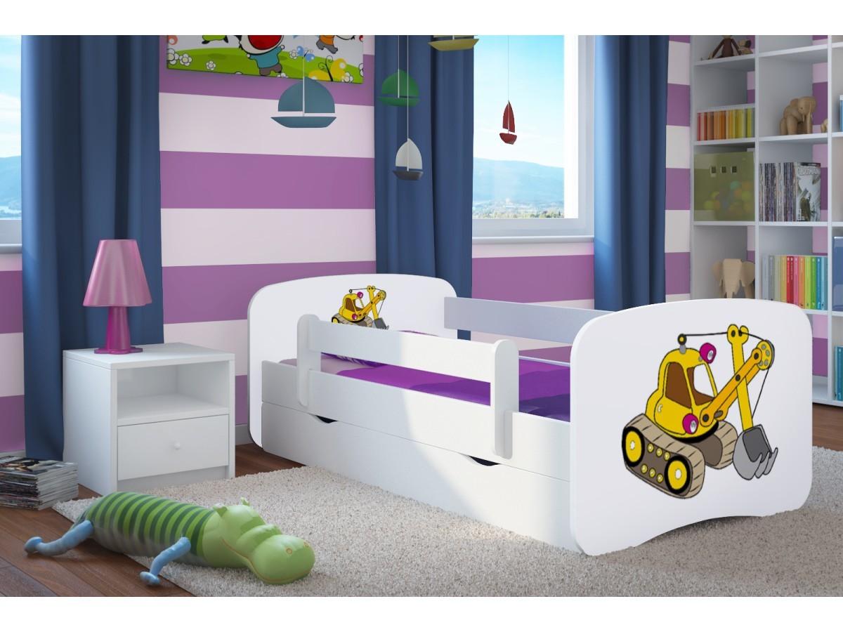 OURBABY gyerekágy leesésgátlóval - kotrógép - fehér