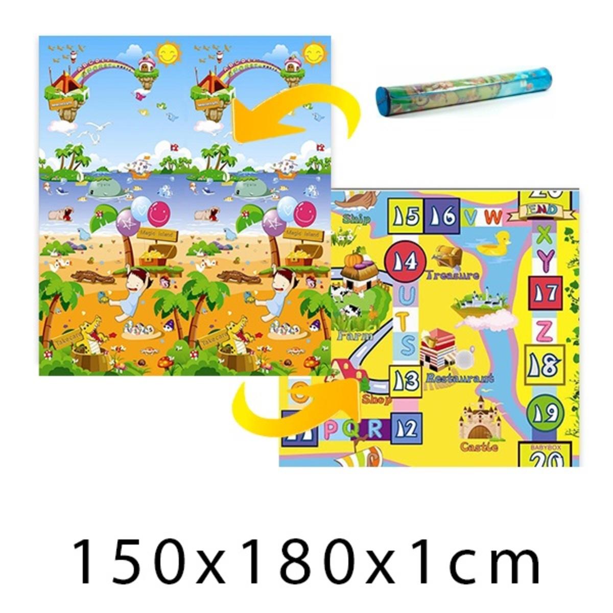 Gyerek habszivacs szőnyeg - varázslatos sziget + játszótábla - 150x180x1 cm