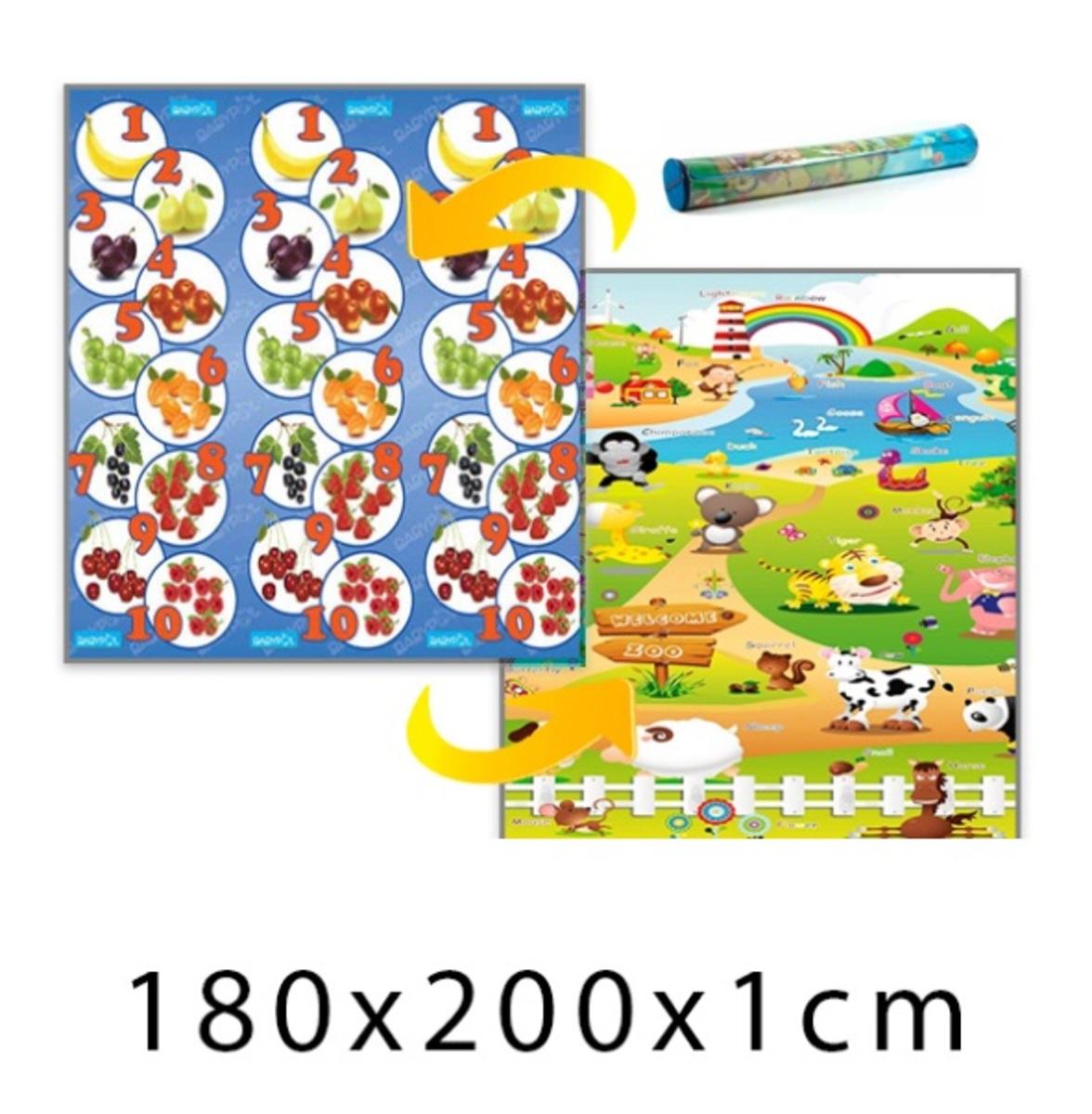 Gyerek habszivacs szőnyeg - gyümölcsös számlap + farm - 180x200x1 cm