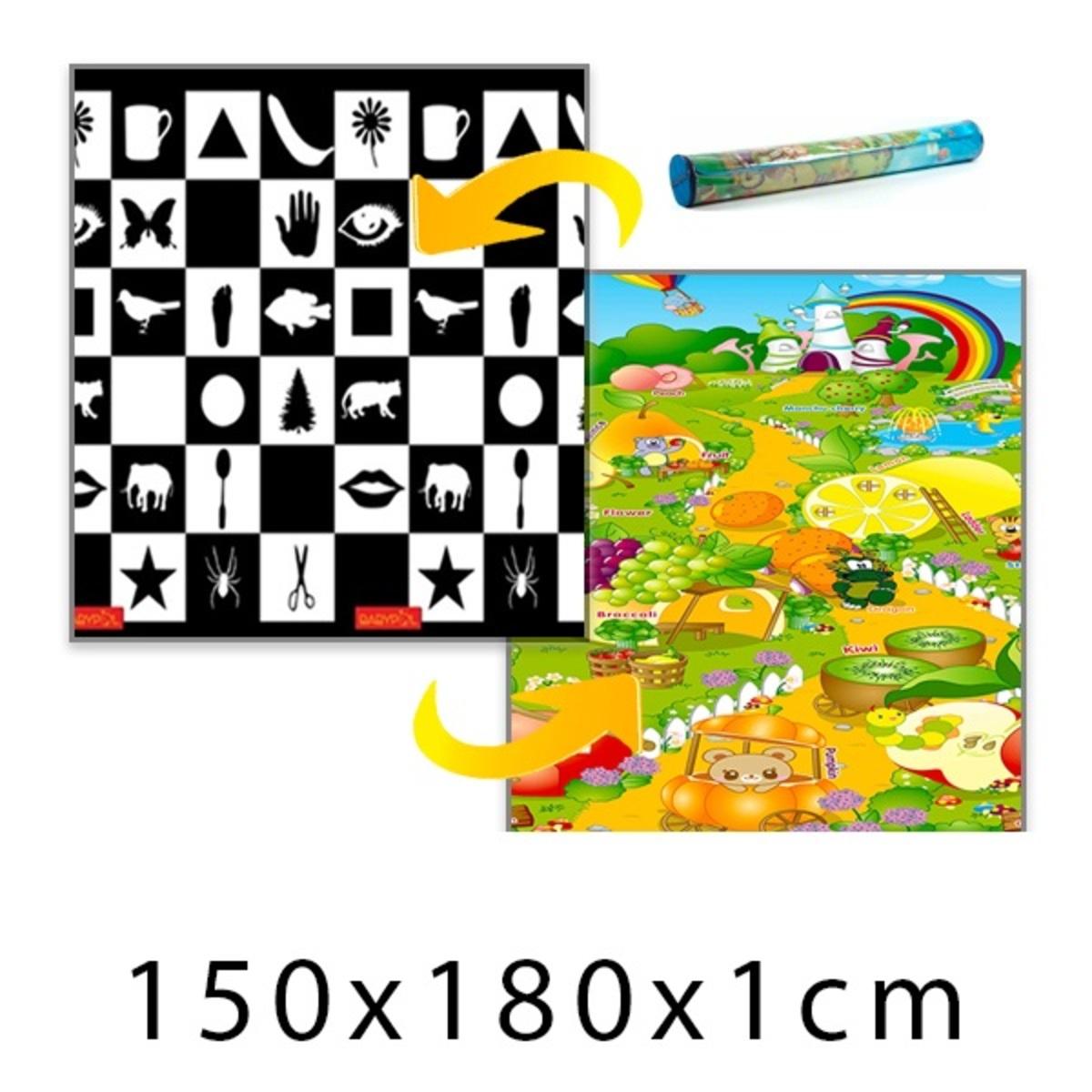 Gyerek habszivacs szőnyeg - sakktábla + gyümölcsos kert - 150x180x1 cm