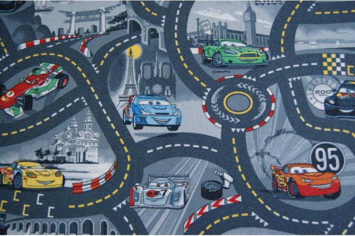 Childrens szőnyeg - szürke utca CARS